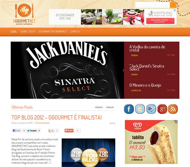 O Gourmet prêmio Top Blog 2012